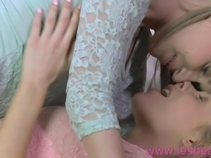Lesbea Blonde angel licks eats and devours young girls tight slit