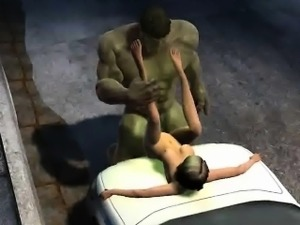 3D cartoon babe getting fucked outdoors by The Hulk