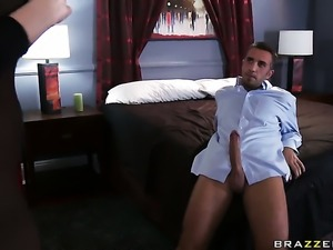 Alanah Rae has fire in her eyes as she gets her throat fucked by Keiran Lee...