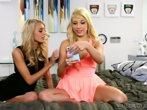 young blonde babes loving having lesbian leisure