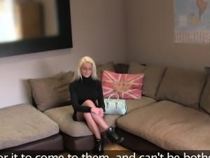 Fake big boobs blonde anal banged on casting