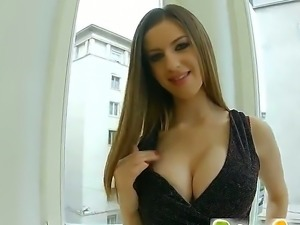 British brunette babe Stella has a lovely pair of boobs. She is a pro at...