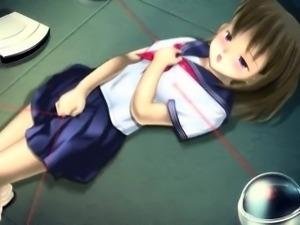 Hentai cutie in school uniform masturbating pussy