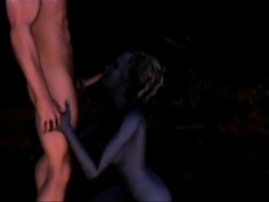 3D Elven Witch Swallows Cum!