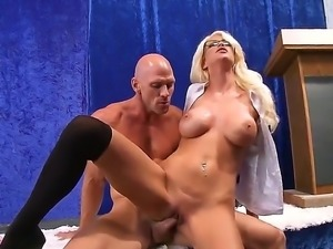 Nasty schoolgirl Riley Jenner with awesome big tits gives blowjob to Johnny...