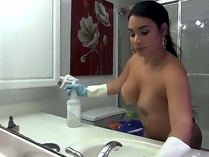 Her name is Destiny, she is a Latina maid and she has got one big fat ass...