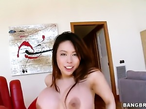 Huge tits asian sucks cock