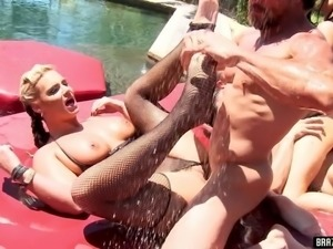 Ava Addams, Nikki Benz, Phoenix Marie, and Tory Lane get every hole fucked in...