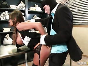Madison Ivy with gigantic jugs cant resist the desire to take James Deens...