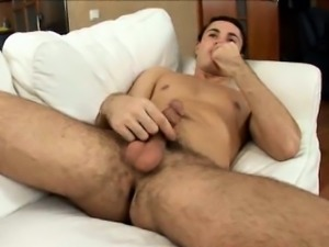 Admirable brunette euro twink rubbing his immense schlong