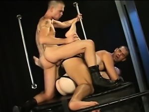 Dick-starved bottoms Peter and Tim share a dildo and stud