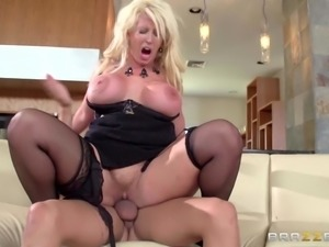 Elegant milf Alura Jenson in sexy black stockings gets her cunt fucked good...