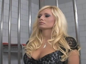 Blonde milf pounde A large ram schlong in jail