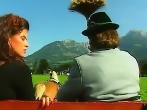 Hot slut rides a old bavarian peasant