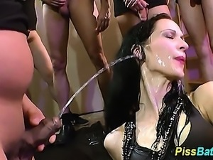 Urine slut funnels piss and gargles streams