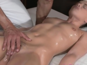 Pussypierced massage client fingered closeup
