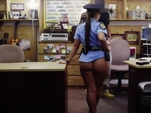 Police woman shows her sexy ass