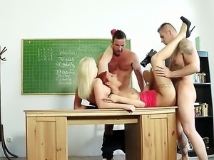 Whats a school porno without two young babes in it Redhead and a blonde are...