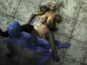 3D Freak Busty Girl Fucked by Creature!