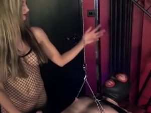 English femdom uses tool in urethra on sub