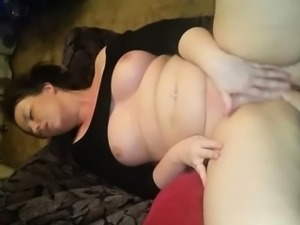 Amateur with big boobs masturbates and squirt