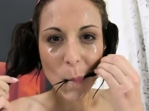 Cute pig tailed honey loves to piss