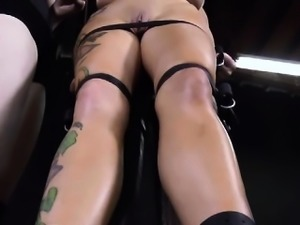 Gagged hottie receives her racks bounded and clamped