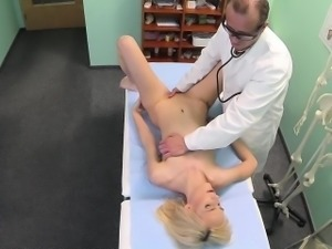 Squirting euro fingered and fucked by her dr