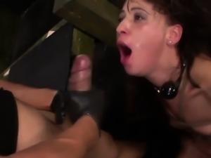 Squirting slave gets cum