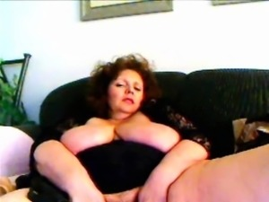 Granny With curly hair Toying