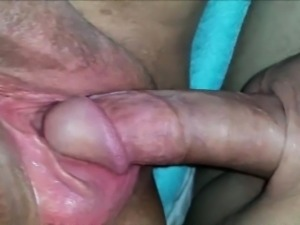 Fucking and cumming on a BBW pussy - closeup
