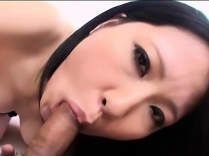 Cute japanese chick in stockings thrills with wild oral sex