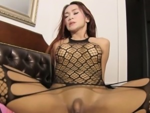 Tiny dick ladyboy gets to suck and fuck with a huge cock