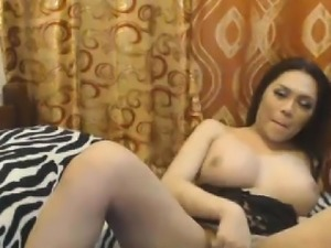 Alluring Shemale Stunner Fapping Cock Wild