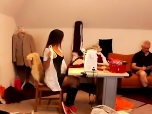 Young teen lesbian strapon Latoya makes clothes, but she enj