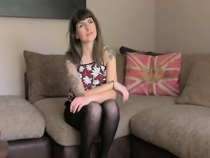 Tattooed slut anal fucked on casting couch