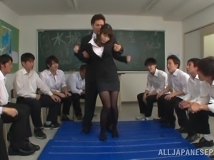 alluring teacher gets gangbanged by the whole class