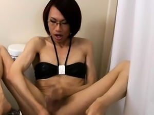 Asian femboy toys and jerkoff in the toilet