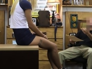 Cute blonde babe in glasses gets fucked at the pawnshop