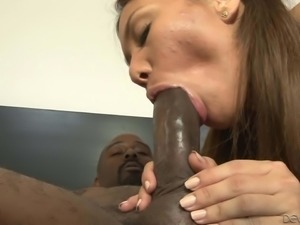 Pigtailed hottie Mena Mason gets fucked nice and hard by her black stepdaddy....
