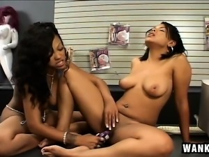 Foot fetish ebony lesbians lick them and pussy on top of a desk