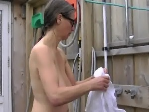 Busty Tina - Naked outside