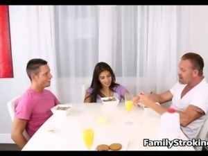 Family Threesome - Step Dad, Daughter and Son