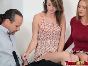 Teen virgin Aspen Ora tought anal sex by mom and step dad
