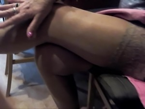 granny hot legs and feet in stockings and red nylon toes