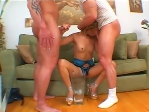 Asian Girl takes two cocks