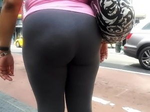 Latina milf ass in grey spandex