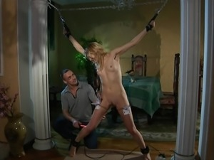 Pretty slave girl gets whipping and electro torture.