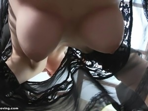 Tina - Downblouse Big Boobs HD Brunette