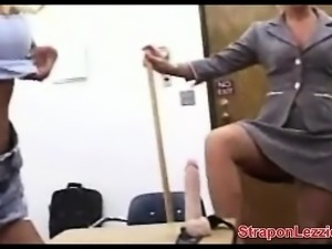 Teacher Makes Lesbians Suck Strapon Dildo